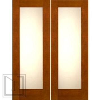 "2-1/4"" Thick Contemporary Mahogany Double Doors Low-E Matte Glass"