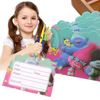 10pcs Cartoon Trolls Movie Personalised Birthday Invitation Card Lot Greeting Collcetion Kid Gift Set For Party Decoration