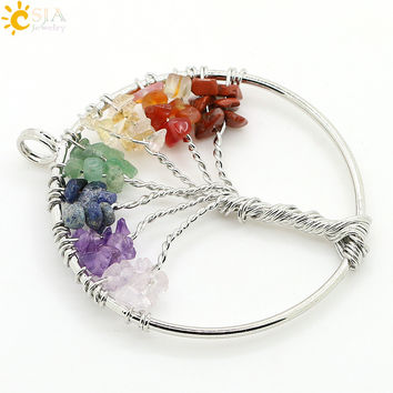 CSJA Wisdom Tree Natural Stone Pendant Reiki Healing Crystal Quartz Chip Bead Rainbow Life Tree Jewelry Amethyst Gift Women E055