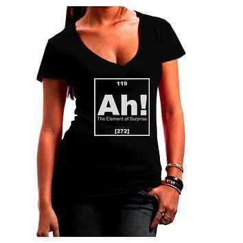 Ah the Element of Surprise Funny Science Juniors Petite V-Neck Dark T-Shirt by TooLoud