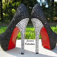 Black Glitter Heels by RippedClothing on Etsy