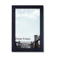 "Adeco Decorative Black Wood 1.25"" Wide Wall Hanging Poster, Picture, Photo Frame, 8.5x14"""