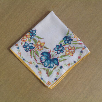 Vintage 40's Handkerchief Hankie Yellow Daffodils and Blue Lily