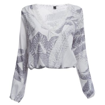 Stylish V-neck Criss-cross Bandage Design Hollow Long Sleeve Print Women Crop Top