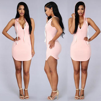Pink Hooded Bodycon Mini Dress