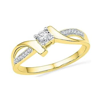 10kt Yellow Gold Women's Round Diamond Solitaire Promise Bridal Ring 1/10 Cttw - FREE Shipping (US/CAN)