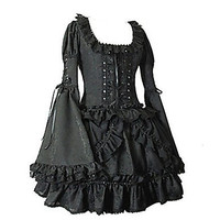 Long Flare Sleeve Short Black Cotton Gothic Lolita Dress Alternative Measures - Brides & Bridesmaids - Wedding, Bridal, Prom, Formal Gown