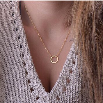 N602 Circle Pendants Necklaces Eternity Collares Minimalist Jewelry Dainty Forever Women Necklace Gift