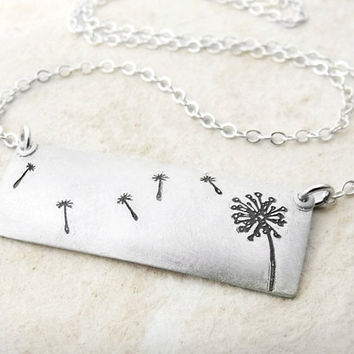 Dandelion make a wish necklace in silver by lulubugjewelry on Etsy