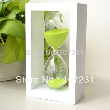 Frame green sand clock watch glass Hourglass Timer 60Min xmas gift home decor Wooden frame