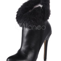 Black Pointed Toe PU Leather Pretty High Heel Booties For Women