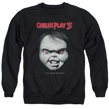 Childs Play Sweatshirt Chucky Look Whos Stalking Black Pullover