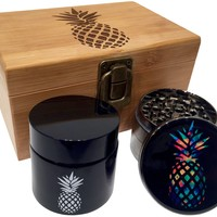 Pineapple Wood Stash Box Combo - Grinder Combo Box