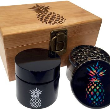 "Pineapple Wood Stash Box Combo - Large 4 Part Herb Grinder 2.5"" with pollen catcher  - UV Black Glass jar - Engraved Wood Box"