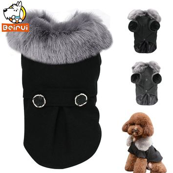 Winter Dog Clothes Pet Cat Jacket Coat Hooded Sweater Warm Padded Puppy Apparel for Small Medium Dogs Pets Chihuahua S-XXL