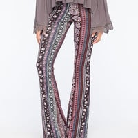 Full Tilt Psychedelic Ethnic Womens Flare Pants Burgundy Combo  In Sizes