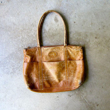 Vintage Worn In Brown Leather Shoulder Bag Distressed Leather Tote Hobo Boho Bag Double Strap College Bag Laptop Bag 90s Hipster Purse Women