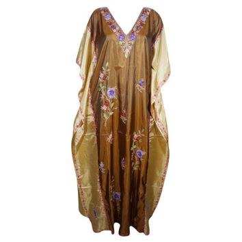 Mogul Womens Kaftan Double Shaded Silk Floral Embroidered Kashmiri Caftan Evening Wear Stylish And Comfortable Kaftan Maxi Beige Brown Aloha Designer Caftan Christmas Gift - Walmart.com