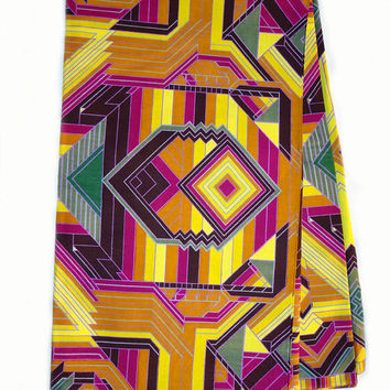 African print fabric, sold by yard, Yellow, Orange, purple, African print fabric, abstract print fabric, fashion African fabric, wax print