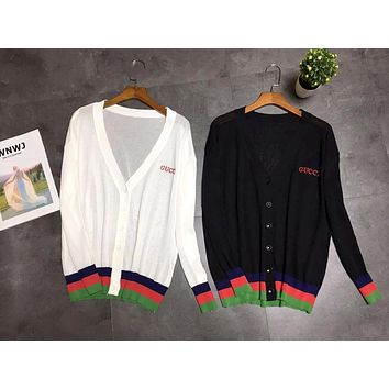 GUCCI 2019 new women's color contrast stitching V-neck knit cardigan