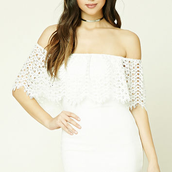 Scalloped Crochet Flounce Dress