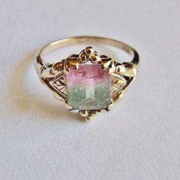 VINTAGE - EMERALD CUT WATERMELON TOURMALINE - 10K YG LADIES RING