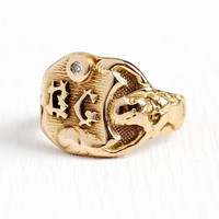 Diamond Signet Ring - Antique 14k Rosy Yellow Gold Initials BG Nude Woman Goddess Statement - Men's Art Nouveau Size 7 3/4 Rare Fine Jewelry