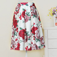 Retro Floral Printed Skirts