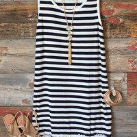 Striped Crochet Detail Dress