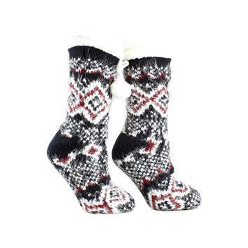 Women's Snow Falls Shea Butter Infused Lounge Socks One Size Fits Most Navy By MinxNY