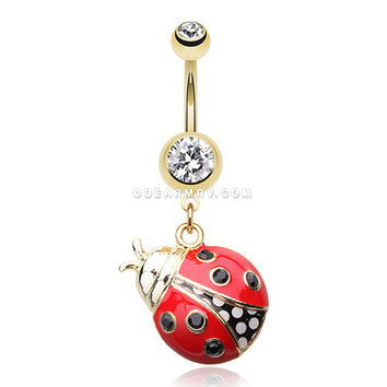 Golden Charming Ladybug Belly Button Ring (Clear/Red)