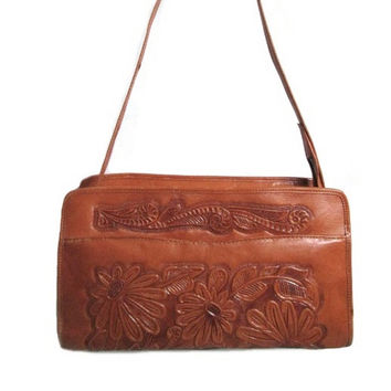 Authentic AVELAR Mexico Genuine whiskey cognac Tooled Leather Zipper Top shoulder bag Mayan Calendar & Floral pattern Retro Hipster satchel
