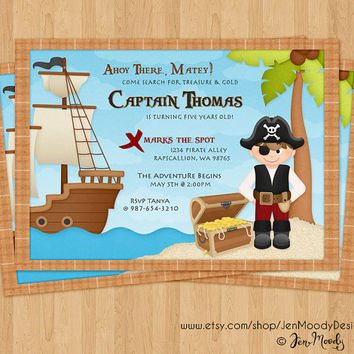 Boy's Pirate Buccaneer Birthday Invitation, Ahoy Matey Party Invite - Printable, Digital, Treasure Chest, Pirate Ship, Treasure Hunt