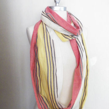 Infinity Scarf, Striped Loop Scarf, Mobius Scarf, Fashion Scarf, Fall Essentials