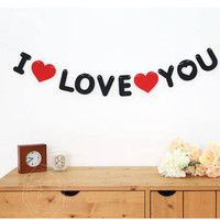 Black and Red Non-woven I LOVE YOU Propose Decoration Wedding Valentine's Day Christmas Party Decoration DIY Party Work BK10322