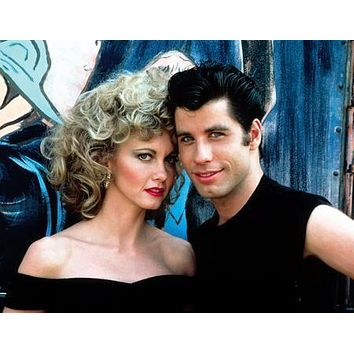Grease Cast Movie Sandy And Danny poster Metal Sign Wall Art 8in x 12in