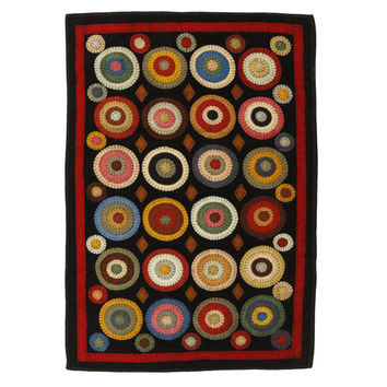 Coin Rectangle Rug Applique Wool Penny Rectangle Rug