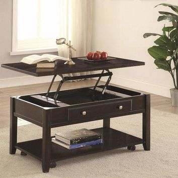 Modern Lift Top Wooden Coffee Table With Storage & Shelf, Walnut Brown - 721038