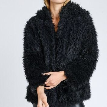 Kylie Faux Fur Jacket in Black