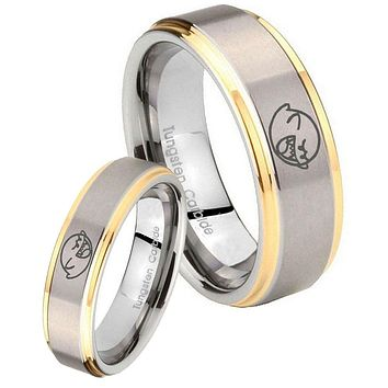 His Hers Step Edge Mario Boo Ghost 14K Gold 2 Tone Tungsten Wedding Rings Set