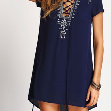 Royal Boho Lace-Up Dress