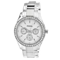 Fossil Women's ES2821 Combination stainless steel with translucent plastic case and bracelet White satin dial Watch