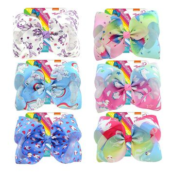 8 inch Huge Big Bow Clip  Unicorn Metalic Print Ribbon Boutique Hair Bows For Girls Kids Children Women Chinese Hair Accessories