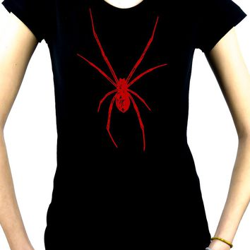 Red Print Black Widow Spider Women's Babydoll Shirt Gothic Clothing