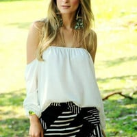 Bohemian Off the Shoulder Top in White, Black, Blue, Yellow or Red Rose