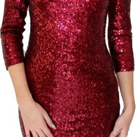 Women Fashion O Neck 2/3 Sleeve Ornate Sexy Sequin Dresses Bandage Bodycon