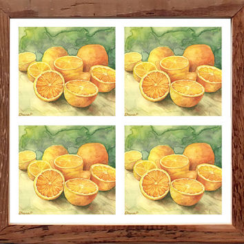 Still life Oranges, Colorful wall decor, Fruits painting, Large Print Set of 4 Four pieces, Watercolor Painting, Kitchen wall decor