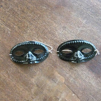 Lot of 5 Mini Black Masks; Mardi Gras Party Favors; Masquerade Decor; Cosplay Favors; Black Plastic Doll Marks
