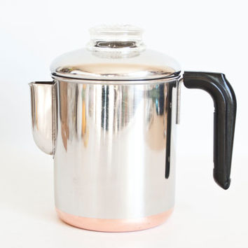 Vintage Revere Ware 6 CUP Percolator Coffee Pot, Pre-1968 Double Circle Logo Process Patent, Copper Bottom Revereware Stovetop Teapot,