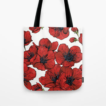 Poppies Pattern Tote Bag by MIKART